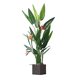 "ZHXDXF Plant 4Ft Artificial Flowers Bird of Paradise 122Cm Greenery Plants Indoor Outside Home Garden Office Verandah Wedding Decorations 48"" Bonsai Decoration"