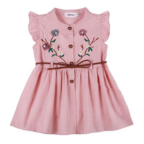 Vestido de verão com manga de babados e bordado floral da Baby Girl Clothes