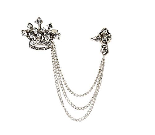Knighthood Silver Alloy Crown Tassel Chain Brooch Lapel Pin Badge Coat Suit Wedding Gift Party Shirt Collar Accessories Brooch for Men