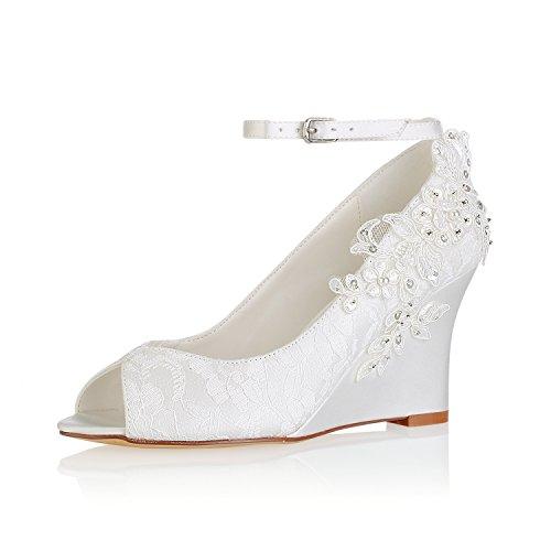 Emily Bridal Scarpe da Sposa in Pizzo Avorio Peep Toe Fiori Dettaglio Scarpe con Zeppa Cinturino alla Caviglia Scarpe da Sposa (EU39, Avorio)