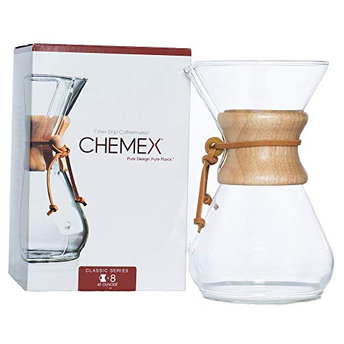 Chemex Classic Series, Pour-over Glass Coffeemaker, 8-Cup - Exclusive Packaging - CM-8A