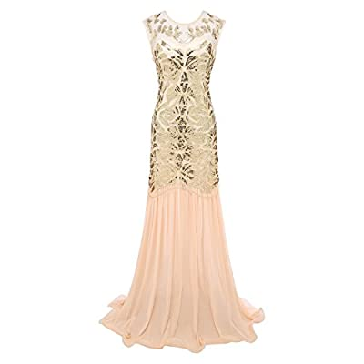 Morovigo Women 's 1920s Black Sequin Gatsby Maxi Long Evening Prom Dress