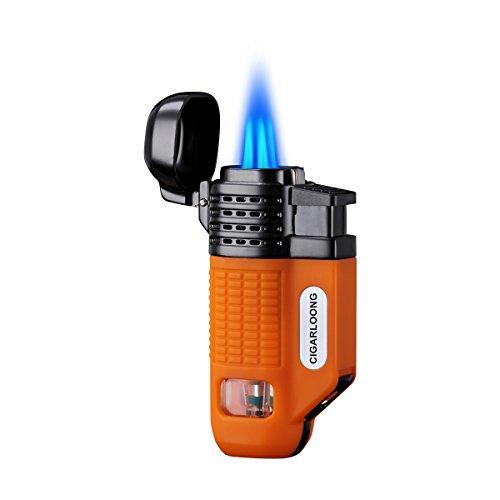 CIGARLOONG Cigar Lighter 4 Jet Torch Blue Flames Refillable Butane Torch Lighter with Cigar Punch (Color:Orange)