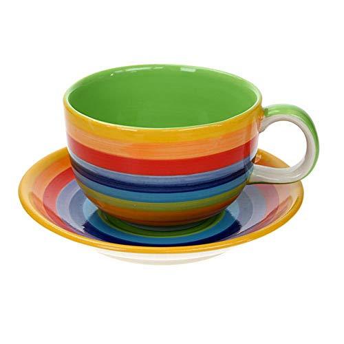 Windhorse Kaffeebecher mit Untertasse, gestreift, Regenbogenfarben, extra groß (1 Set)