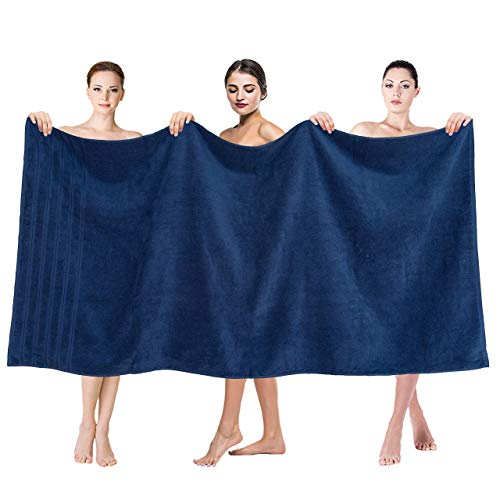 Premium, Luxury Hotel & Spa Quality, 35x70 Extra Large Jumbo Size Bath Towel, Bath Sheet Cotton for Maximum Softness and Absorbency by American Soft Linen, [Worth $34.95] Navy Blue