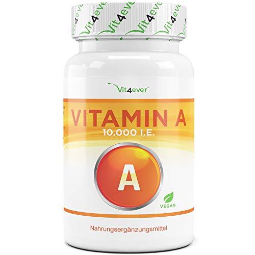 Vitamin A - 10.000 I.E. (3000 µg) - 240 Tabletten - Laborgeprüft (Wirkstoffgehalt & Reinheit) - Retinylacetat - Ohne unerwünschte Zusätze - Hochdosiert - Vegan