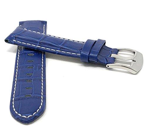 Leder Uhrenarmband 24mm für Herren, Königsblau, mit weißer Naht, Alligatormuster, auch verfügbar in schwarz, braun, rot, hellbraun
