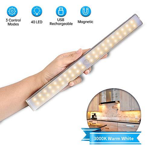 Luce Notte LED con Sensore,Lacyie 40LED Luce per Armadio Sensore di Movimento Lampada USB Ricaricabile,3Modalità Illuminazione,Striscia Magnetica Adesiva e Interruttore,Luci per Armadio,Cucina,Scale