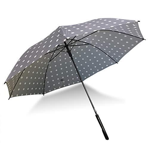 Set van 2 Bedrukte Polka Dot 42 Inch Stick Paraplu's | Perfect voor Koppels, Vrienden, Festivals, Winkelen, Reizen