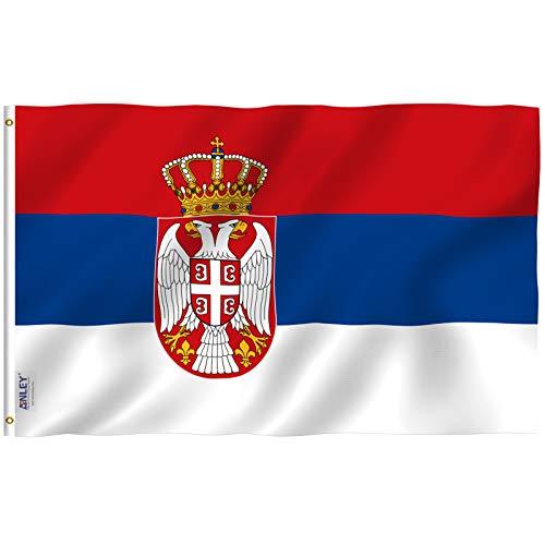 Anley Fly Breeze 3x5 Fuß Serbien Flagge - Lebendige Farbe und UV-Lichtechtheit - Leinwandkopf und doppelt genäht - Serbische Flaggen Polyester mit Messingösen 3 X 5 Ft