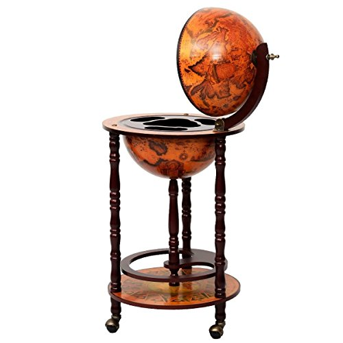 "Nongminkshop Unique Traditional Style 16th Century Italian Style 36"" Wood Globe Wine Rack Bar Stand Holds Bottles and Wine Glass in an Old World Map Design Looks Elegant in Your Living Or Home Office"