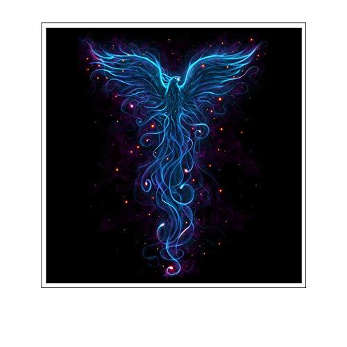 Leinwand Bild,Fraktale Chinesischen Grimmigen Bestie Blue Phoenix, Poster Und Drucke Modulare Wand Bild, Home Decor Einfache Kunst Wandbilder Bild Foto Ausdrucken Wand Für Wohnzimmer, Schlafzimmer,