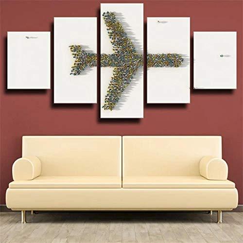 KOPASD 5 Piezas Decor Salon Murales Avión avión Gente Forma Blanca Pasillo Decor Arte Pared Enmarcado HD Impresión Regalo (Enmarcado Tamaño 200x100cm)