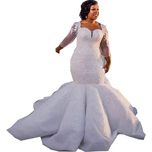 Ainisha Women's Elegant Lace Applique Beading Wedding Gowns Bridal Dresses Plus Size Long Sleeves Wedding Dresses Ivory,26 (Apparel)