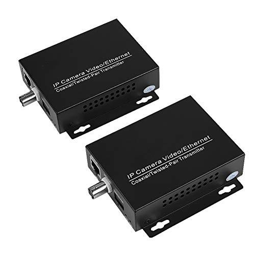 Chipoee Extensor Coaxial 1 par Ethernet Extensor IP sobre Kit coaxial Cable coaxial EoC para cámaras de Seguridad CCTV