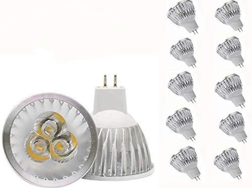 MR16 LED Bulbs MR16 3W LED Warm White Light Bulbs GU5.3 MR16 LED Bulbs 12V 3W LED Spotlight Bulbs for for Landscape Recessed Track Lighting,20W Halogen Equivalent,Pack of 10
