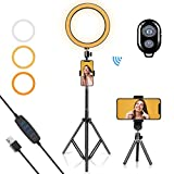 LED Ring Light 10' with Tripod Stand & Phone Holder for YouTube Video, Desk Selfie Ring Light Dimmable for Streaming, Makeup, Photography Compatible with iPhone Android