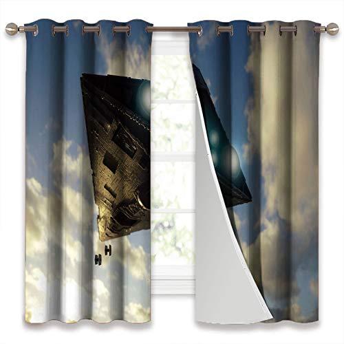 SSKJTC Cortinas para ventana de oscurecimiento de la habitación, diseño de Star Wars con diseño de acorazado de guerras de guerra de 140 x 100 cm