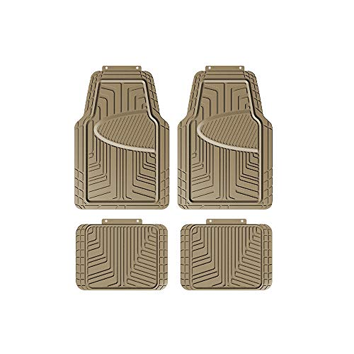 AmazonBasics 4-Piece All-Season Rubber Floor Mat for Cars, SUVs and Trucks, Beige