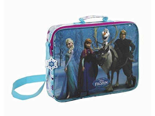 Disney Frozen - Die Eiskönigin völlig unverfroren ELSA Anna, Umhängetasche Schultertasche (S385), blau/weiß, 38 x 28 x 10 cm
