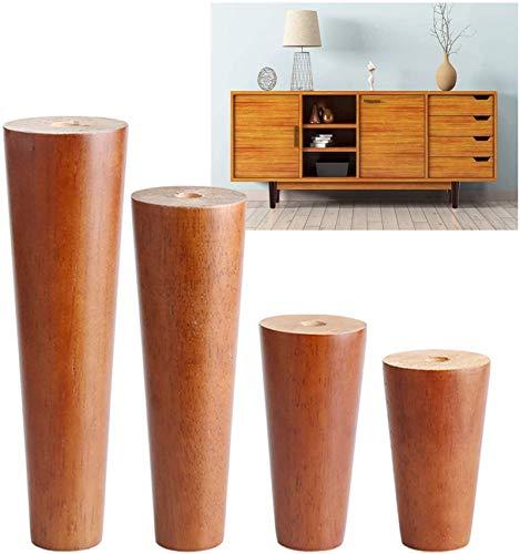 Patas para muebles, Patas de muebles de madera maciza Patas de la mesa de centro 6 cm 8 cm - Pies de muebles de reemplazo cónico, negro, nuez, blanco, operación simple, capacidad de apoyo fuerte, 4 pi