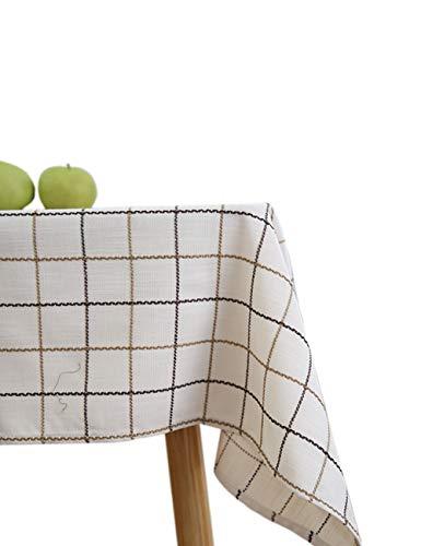 Molaxhome Tablecloth White Fabric Cotton Linen Rectangular Lattice Garden Tea Table Square Table Cloth Towel for Home Kitchen Dining Entertaining Tabletop Serveware