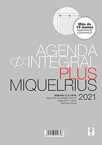 MIQUELRIUS - Recambio para agenda 2021-6 Anillas, Tamaño PLUS 155 x 213 mm, Semana a la Vista Vertical, Idioma Castellano