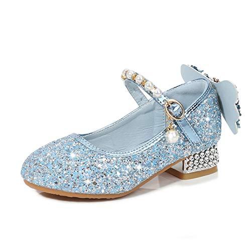 Fanessy Zapatos Princesa niña Bombas de Lazo de Perlas con Lentejuelas Zapatillas...