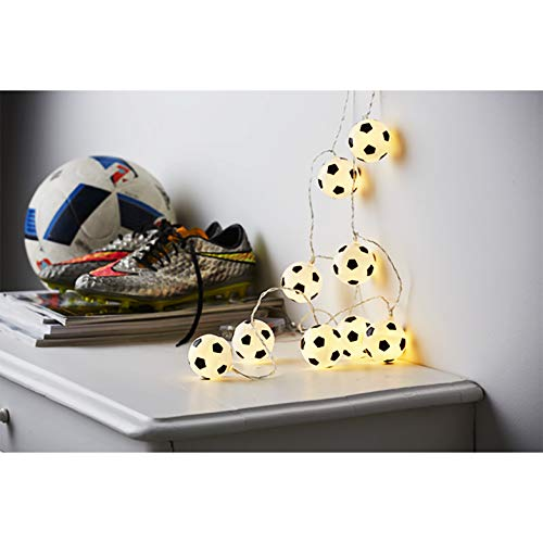 Kamaca LED Party - Lichterkette mit dekorativen Fußbällen und 10 warm weissen LED Lichtern batteriebetrieben inklusive Timer (Fussball - Party)