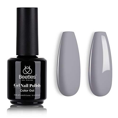 Beetles Gel Polish, 15ml Pebble Gray Color Gel Polish Soak Off LED Nail Lamp Gel Polish Nail Art DIY Home Manicure Salon Gel 0.5OZ