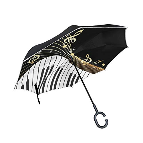 rodde Reverse Windproof für Regen Outdoor Double Layer Inverted Warenkorb Music Notes Piano Regenschirme mit C-förmigen Griff