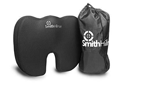 Smith Hillman Coccyx Orthopedisch Memory Foam zitkussen – Zittend Pijnverlichting! van Sciatica, Onderrug en Coccyx/Tailbone Pain| Anti-slip Bodem | Inclusief Opbergtas (Grijs, 3D Ademend Mesh) Zwart