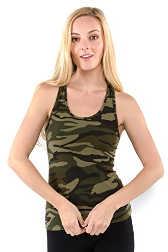 Vibrant Vixen Women's Yoga Sports Tank-Top and Bra with Removable Pads Camouflage Print Workout Crop Top (VCMTT-Green, S/M)