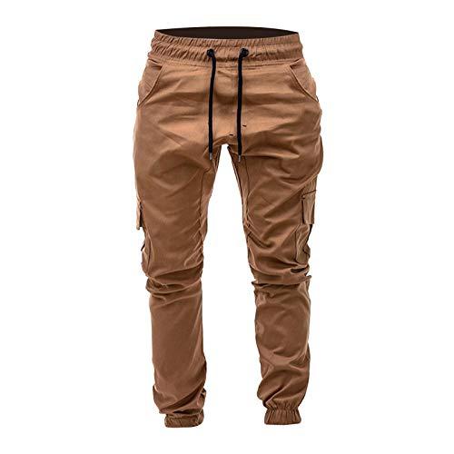 Pantalones cargo para hombre, pantalones de chándal, pantalones de chándal para hombre, bolsillos laterales de color sólido, cintura con cordones, informales, pantalones de pijama caqui XXL