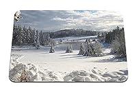 22cmx18cm マウスパッド (フィールド冬雪モミの木カバー服装吹きだまり雲空木材もろい) パターンカスタムの マウスパッド