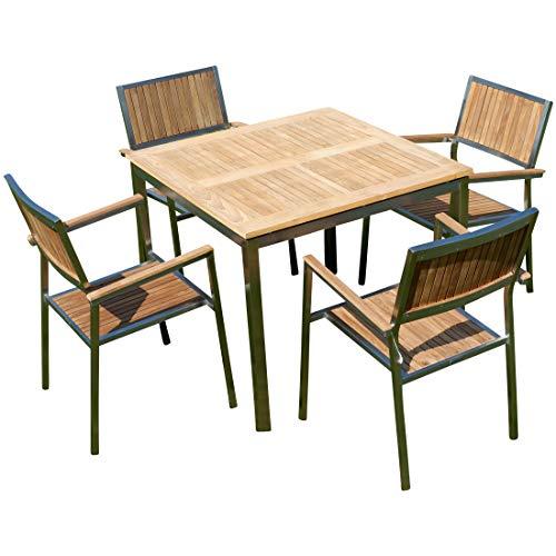 AS-S ASS Gartengarnitur Edelstahl Teak Set: Tisch 90x90 cm + 4 Teak Sessel A-Grade Teak Holz Serie Kuba Gastroqualität
