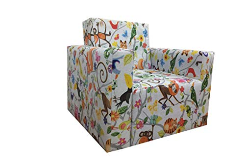 Mini Poltrona Infantil Mini Sofá Corino Savana Bichinhos 46cm