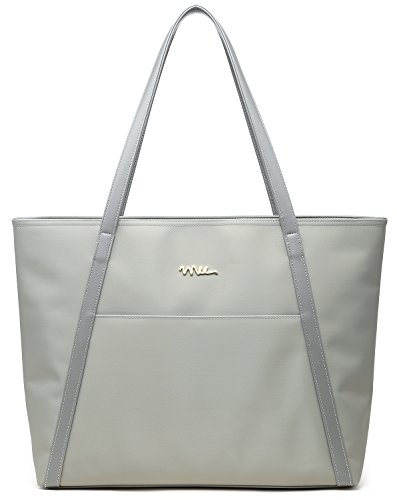 NNEE Large Water Resistance Nylon Travel Tote Shoulder Bag - Silver