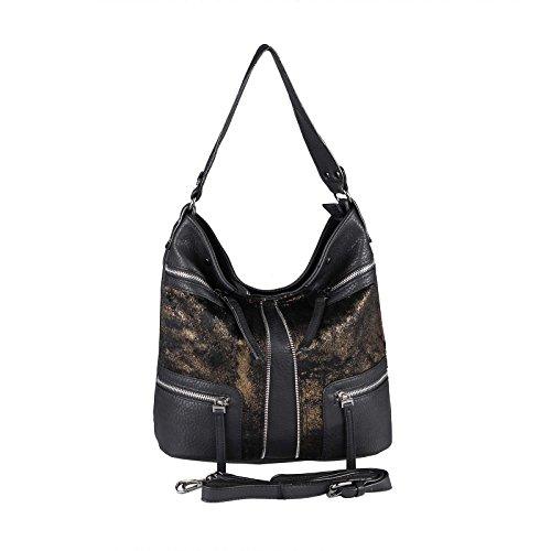OBC Damen HOBO Bag Tasche Shopper METALLIC Schultertasche Umhängetasche Handtasche Henkeltasche Beuteltasche (Schwarz-Bronze 35x29x13 cm)