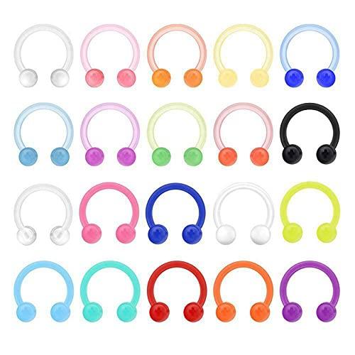 Colorful Acrylic Horseshoe Nose Lip Ear Piercing Hoop Tragus Rings, Retenedores de Plástico para Perforación de Oreja, Aretes de Herradura con Barra para Mujeres, Color Aleatorio