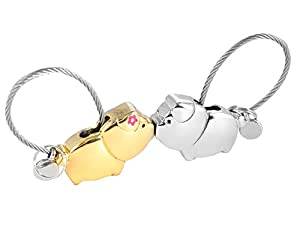 iSuperb® 1 Pair Keychain Couple Keychain Kissing Pig Couple Key Rings Zinc Alloy Key Hook Belt Clip Personalized for Girlfriend 4.6x2.5cm (Silver and Light Gold)