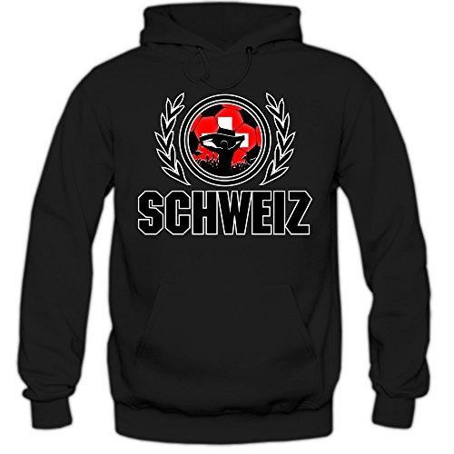 Schweiz WM 2018#2 Hoodie   Fußball   Herren   Nati   Trikot   Nationalmannschaft, Farbe:Schwarz (Black F421);Größe:S