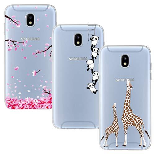 YOOWEI - Set di 3 cover per Samsung Galaxy J5 2017, in silicone flessibile, gel TPU, assorbimento degli urti, liquido, molto leggera, cover per J5 2017, motivo: fiore di ciliegio + Panda + giraffa