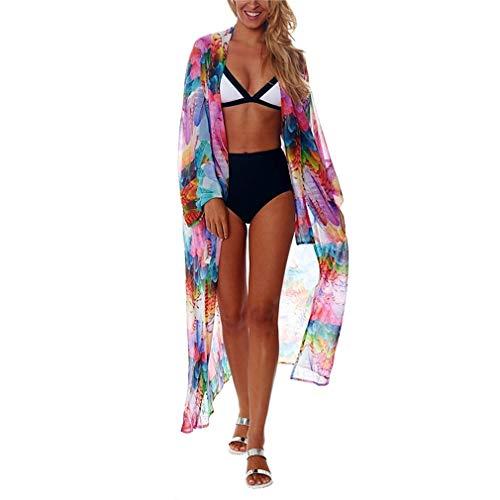 Ai.Moichien Chemisier de Plage en Mousseline de Soie pour Femmes Maillot de Bain crème Solaire Bikini Capuche extérieure Multicolore Taille Unique