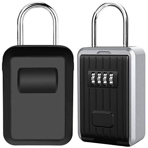 Schlüsseltresor Schlüsselsafe mit 4-stelliger Zahlencode, Wandmontage Schlüsselbox mit Bügel Große Kapazität Key Safe für Aussen Innen Auto Garage Home Office Schlüssel und Zugangskarte (Schwarz)
