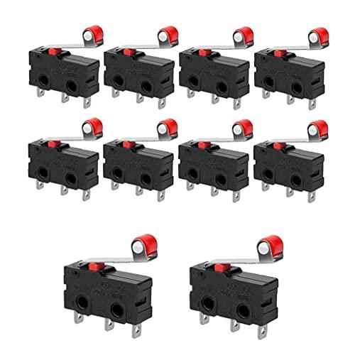 Micro límite interruptor de la palanca de rodillo de bisagra de bisagra momentánea AC 250V 5A SPDT 1NO 1 UNC ACCIÓN SNAP 10PCS