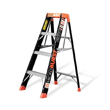 Little Giant 15700-001 MicroBurst  Type 1A Fold-Flat 375-Pound Duty Rating Fiberglass Stepladder, 4'
