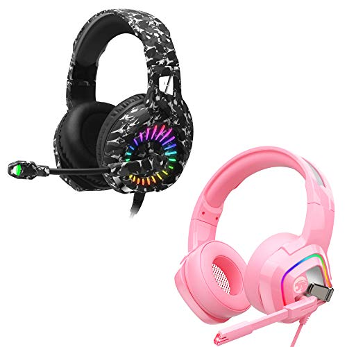 ZIUMIER Gaming Headset for PS4, PS5, Xbox One, PC, Wired Over-Ear Headphone with Noise Isolation Microphone, RGB Flowing LED Light