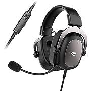 havit Gaming Headset für PS4 Stereo PC Headset mit abnehmbare Mikrofon, Over-Ear Kopfhörer mit 53MM Treiber für Xbox, Laptop, Mac (H2002d, Gun Metal)