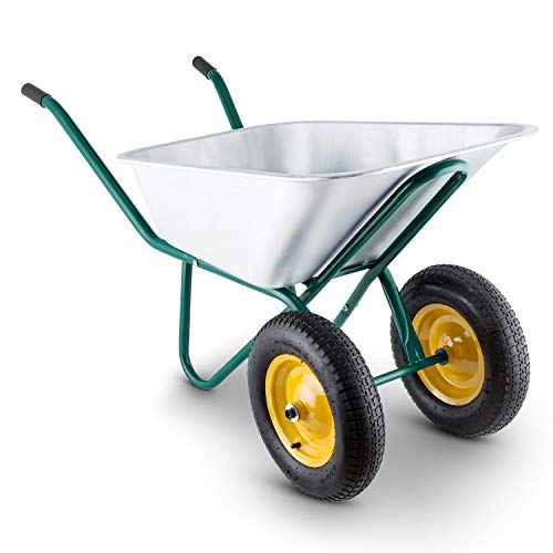 Waldbeck Heavyload - Schubkarre, Gartenkarre, 120 L Volumen, 320 kg max. Zuladung, 2-rädrige Vorderachse, 4.00 Luftgummireifen, Gummigriffe, grün